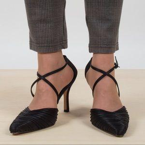 Vintage Ruched Ankle Wrap Heels